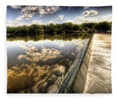 Fox River At The Geneva Dam Fleece Blanket