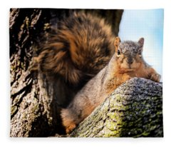 Fox Squirrel Watching Me Fleece Blanket