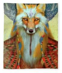 Fox Tribal Aimee Stewart Animal Fleece Blanket