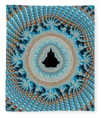 Fractal Art Crochet Style Blue And Gold Fleece Blanket