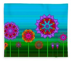 Whimsical Fractal Flower Garden Fleece Blanket
