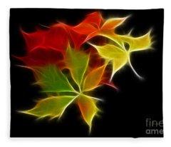 Fractal Leaves Fleece Blanket
