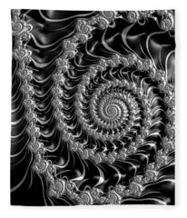 Fractal Spiral Gray Silver Black Steampunk Style Fleece Blanket
