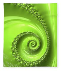 Fractal Spiral Greenery Color Fleece Blanket