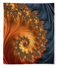Fleece Blanket featuring the digital art Fractal Spiral Orange Golden Black by Matthias Hauser