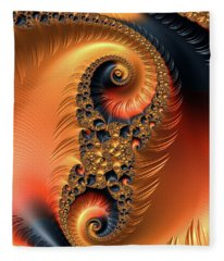 Fractal Spirals With Warm Colors Orange Coral Fleece Blanket