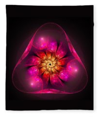 Fractal Triangle Pink Red Yellow Fleece Blanket
