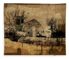 Fragmented Barn  Fleece Blanket