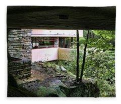 Frank Lloyd Wright Falling Water Fleece Blanket