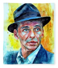 Frank Sinatra In Blue Fedora Fleece Blanket