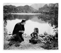 Frankenstein By The Lake With Little Girl Boris Karloff Fleece Blanket