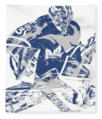 Frederik Andersen Toronto Maple Leafs Pixel Art 2 Fleece Blanket
