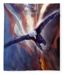 Fleece Blanket featuring the mixed media Freedom Eagle by Carol Cavalaris