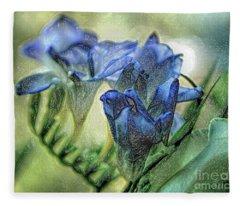 Freesia Carved In Blue Fleece Blanket