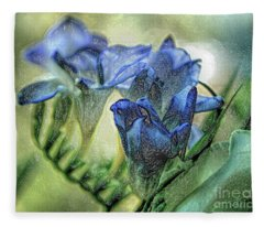 Freesia Carved In Blue Fleece Blanket