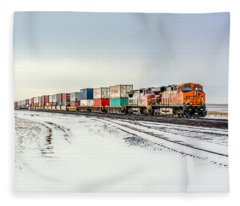 Freight Train Fleece Blanket