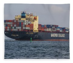 Freighter Headed Out To Sea Fleece Blanket