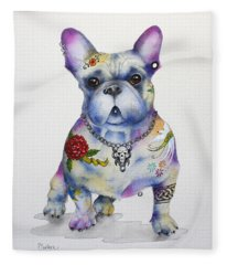 French Bulldog Ozzie Fleece Blanket