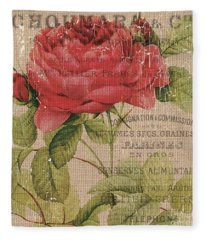 French Burlap Floral 1 Fleece Blanket