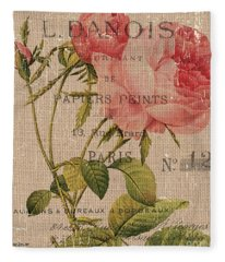 French Burlap Floral 2 Fleece Blanket