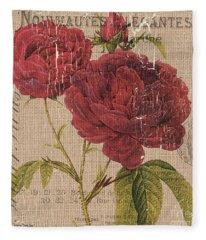 French Burlap Floral 3 Fleece Blanket