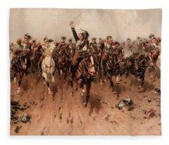 French Cavalry Charging Fleece Blanket