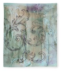 Fleece Blanket featuring the painting French Country Scroll In Muted Blue by Jocelyn Friis