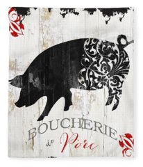 French Farm Sign Piglet Fleece Blanket