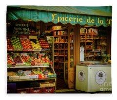 French Groceries Fleece Blanket