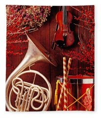 French Horn Christmas Still Life Fleece Blanket