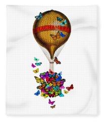 French Hot Air Balloon With Rainbow Butterflies Basket Fleece Blanket