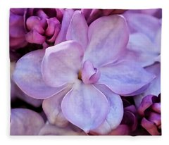 French Lilac Flower Fleece Blanket