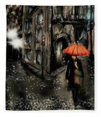 French Quarter Rain Fleece Blanket