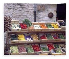 French Vegetable Stand Fleece Blanket
