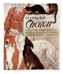 French Veterinary Clinic Fleece Blanket