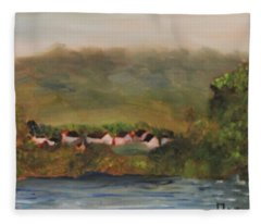 French Village Along The River Seine Fleece Blanket