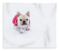Frenchie In The Snow Fleece Blanket