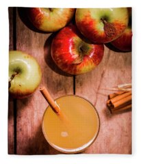 Fresh Apple Cider With Cinnamon Sticks And Apples Fleece Blanket
