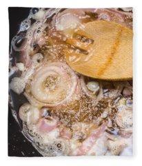 Fried Red Onions Cooking In Pan Fleece Blanket