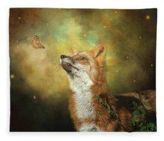 Friends On A Firefly Evening Fleece Blanket