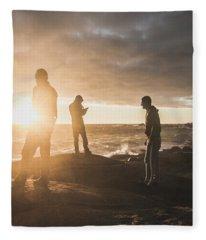 Friends On Sunset Fleece Blanket