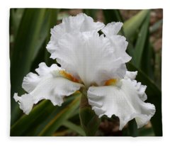 Frilly White Iris Flower Fleece Blanket