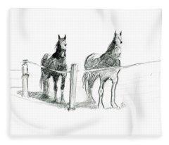 Friesian Horses Fleece Blanket