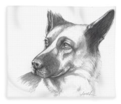 Fritz The German Shepherd Fleece Blanket