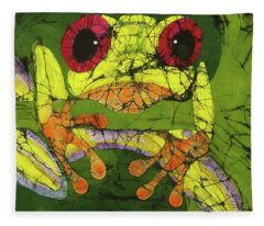 Frog On Gingko Fleece Blanket