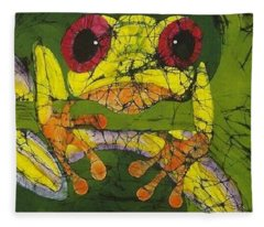 Frog On Ginko Fine Art Batik Fleece Blanket