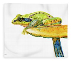 Frog Sitting On A Toad-stool Fleece Blanket