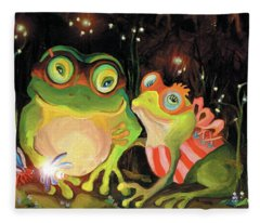 Frogs At Silver Lake Fleece Blanket
