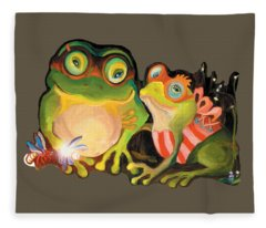 Frogs Transparent Background Fleece Blanket
