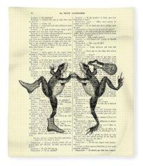 Frogs With Mandolin Music Print Vintage Animals Illustration Fleece Blanket
